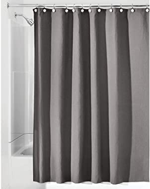 "mDesign Hotel Quality Polyester/Cotton Blend Fabric Shower Curtain with Waffle Weave and Rust-Resistant Metal Grommets for Bathroom Showers and Bathtubs - 72"" x 72"" - Gray"