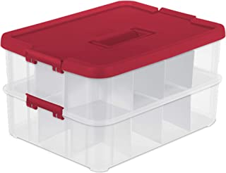 Sterilite 1427 Stack & Carry 2 Layer 24 Ornament Storage Box, Red Lid and Handle, See-through layers