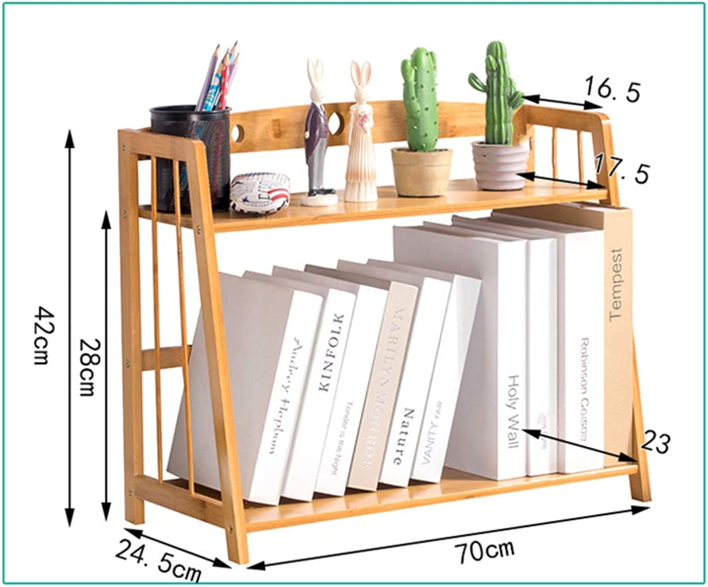Desk Organiser Bookshelf, Simple Bookshelf, Multipurpose Storage Rack Shelf Desktop Shelves Easy Assembly for Office Bamboo Wood-m 70x24x42cm(28x9x17inch)