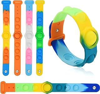 [5 بسته] اسباب بازی دستبند Fidget ، اسباب بازی های مچ بند پاپ حبابی ، دستبند پاپ ، اسباب بازی دستی استرس ، استرس و اسباب بازی دستبند ضد استرس ، برای بزرگسالان و کودکان پوشیدنی