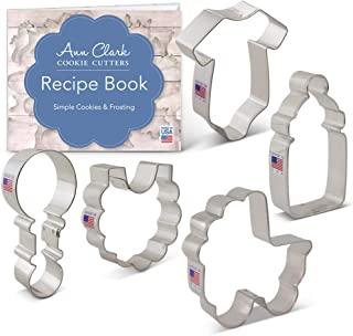 Ann Clark Cookie Cutters 5-Piece Baby Shower Cookie Cutter Set with Recipe Booklet, Onesie, Bib, Rattle, Bottle, and Baby Carriage