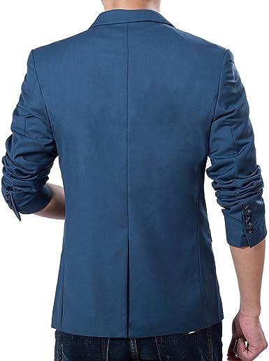 Vobaga para hombre Slim Fit chaqueta de perchero de pared de Casual un botón traje diseño negocio Blazers