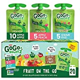 GoGo SqueeZ Applesauce Variety Pack ApplePeachGIMME 3.2 20 Pouches Gluten Free Vegan Friendly Unsweetened Recloseable BPA Free Pouches, Apple Peach GIMME 5, 64 Ounce