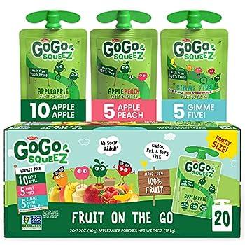 GoGo squeeZ Fruit on the Go Variety Pack Apple Apple Apple Peach & Gimme Five! 3.2 oz  20 Pouches  - Tasty Kids Applesauce Snacks - Gluten Free Snacks for Kids - Nut & Dairy Free - Vegan Snacks