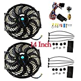 BLACKHORSE-RACING 14' Universal Electric Radiator Cooling Fans + Thermostat Relay & Mount Kit (2 Pcs)