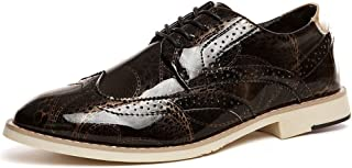 YINJIESHANGMAO Men's shoes, oxford shoes with flat lace, PU leather pointed toe business casual shoes Men's shoes (Color : Gold, Size : 39EU)