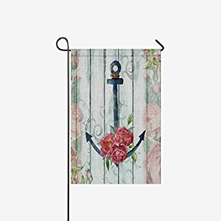 TAOGAN Floral Wood with Nautical Anchor Flowers and Butterfly Double-Sided Garden Flags House Banner Decorative Flags for Home Outdoor Holiday Yard Flags 28