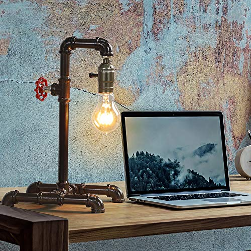 HAITRAL Retro Table Lamp, Industrial Steam Punk Lamp, Loft Style Rustic Bronze Metal Lighting, Pipe Desk Lamp for Bedside, Living Room, Office, Café, Store, Pub with Red Valve (Bulb Not Included)