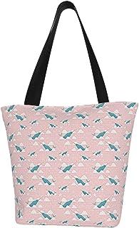 Lesif Narwhal Einkaufstaschen, rosa, Segeltuch, Schultertasche, wiederverwendbar, faltbar, Reisetasche, groß und langlebig, robuste Einkaufstaschen