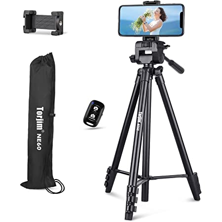 """60"""" Phone Tripod Stand, Torjim Adjustable Travel Video Tripod with Cell Phone Holder & Wireless Remote for Video Recording, Live Streaming, Lightweight Camera Mount Tripod Stand"""