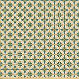ABAKUHAUS Geométrico Tela por Metro, Resumen de Origami, Tela Elastizada Estampada para Costura Arte y Bricolaje, 5 Metros, Naranja Teal Crema