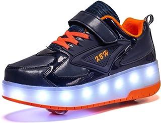 Zapatillas con Ruedas,Niños Niña LED Luces Zapatos 7 Colores Luminosas Flash Zapatos de Roller Doble Rueda Patines Deporti...