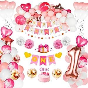 JOYYPOP 1st Birthday Girl Decorations - Baby Girl 1st Birthday Party Supplies Rose Gold Decorations 102PCS with 1st Birthday Baby Crown, ONE Cake Topper, 1st Birthday Highchair Banner Decorations Happy Birthday Banner
