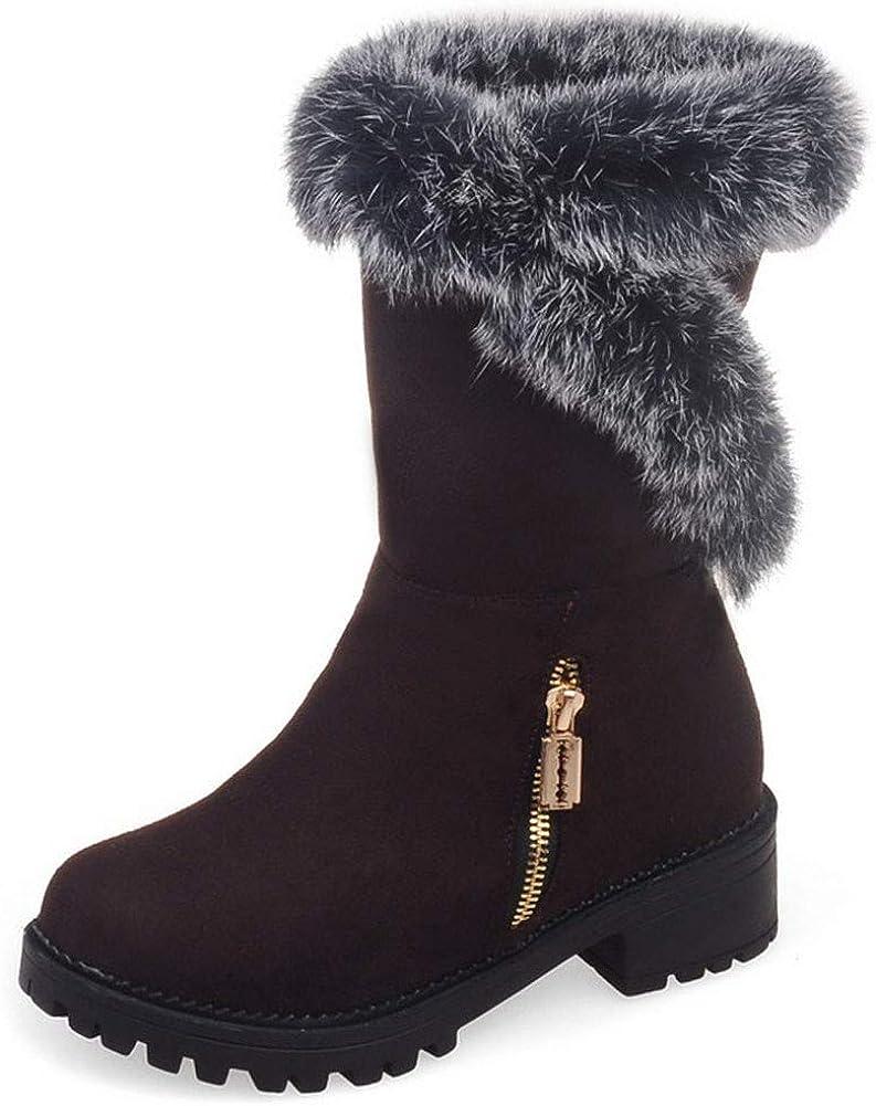 Vimisaoi Mid-Calf for Women, Anti-Slip Snow Winter Ladies booties Comfortable, Outdoor Fashion Boots