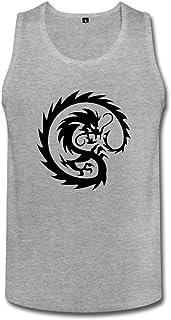 Cute Soul メンズ タンクトップ 竜のタトゥーデザイン ドラゴン入れ墨 ちょい悪ファション 黒 ☆二重縫い加工 カットソー アメカジの王道 ?