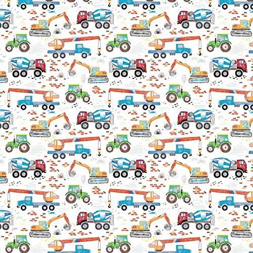 11,99 €/m auto edilizia polizia vigili del fuoco 100% cotone tessuto per bambini al metro cucito tessuto (veicoli da costruzione colorati, 100 x 160 cm