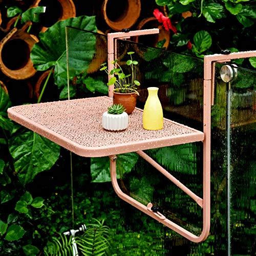 AMDHZ Mesa Plegable Pared Suspensión De Barandilla Escritorio Pared Escritorio De Pie De Flores Cuatro Marchas Ajustables Durable Fácil De Doblar Usado para Ventana Balcón (Color : Pink)