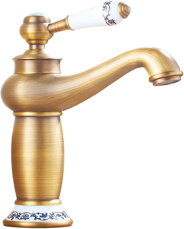 Küchenarmatur Waschtischarmatur Wasserfall Wasserhahn Bad Mischbatterie Badarmatur Waschbecken Badezimmer Kupferner heier und kalter Bassinhahn mit keramischem nicht drehbarem Retro