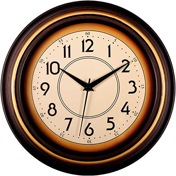 Bekith 12 Inch Classic Clock Non Ticking Silent Wall Clock Decorative Quartz Battery Operated Modern Style Wall Clocks For Living Room Kitchen Bedroom