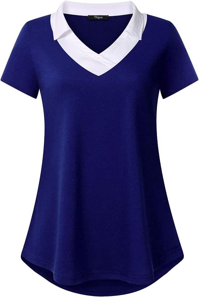 Ckuvysq Women's Short Sleeve Mandarin Neck Flowy Office Tunic Top