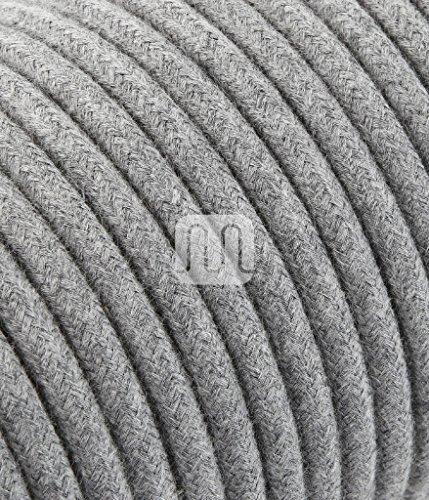 merlotti 20364Elektrische Kabel rund H03VV 2x 0,75, Leinwand grau, 3m