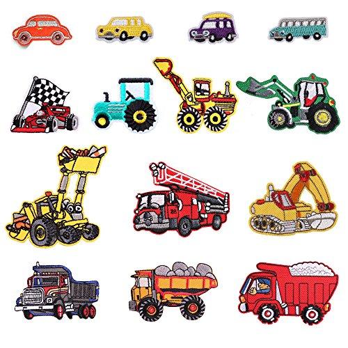 Lot de 14 Écussons thermocollants ou à coudre pour enfants, motifs bus, voiture de course, camion de pompiers, voiture, idéal pour loisirs créatifs sur jeans, vêtements, veste, sac à dos, écharpe