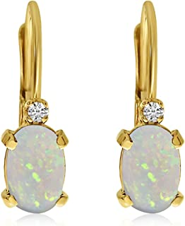 14k Gold Oval Gemstone and Diamond Leverback Earrings