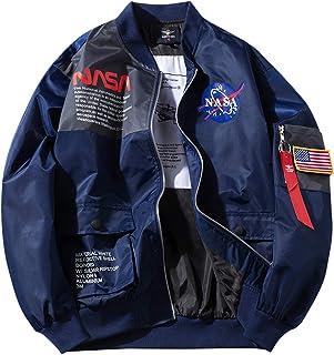 Men's NASA MA-1 Bomber Flight Zip Up Jacket Casual Windbreaker Coat - Blue