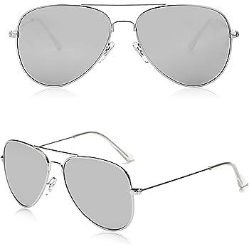 Mens Ladies Classic Gun Metal Vintage Mirror Pilot Sunglasses Silver Chrome