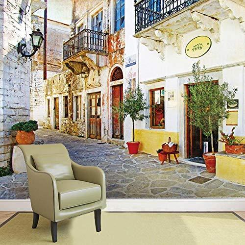Vliesbehang 3D behang Romantic fotobehang Foto 3D behang Europese gebouwen met bloempotten behang voor woonkamer TV sofa achtergrond 250*175