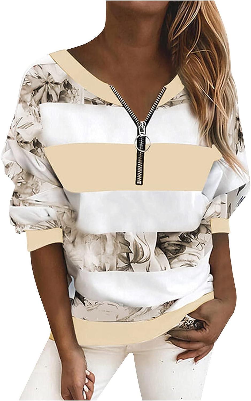 PLENTOP Zipper Front V Neck Tops for Women Striped Floral Print Color Block Patchwork Casual Tunic Blouse T Shirts