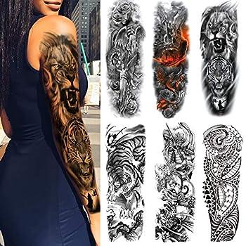 Extra Temporary Tattoo Black Tattoo Full Arm Sleeve Temporary Tattoo Stickers Body Atr for Man Women 6-Sheet