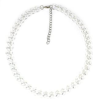 'Curb Appeal', Longer Transparent Curb Chain Acrylic Necklace with Silvertone Chain, 24-28 Inches