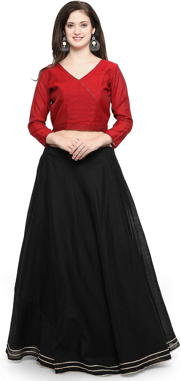 Generic WOMN Black Semi Stitched Lehenga with Blouse
