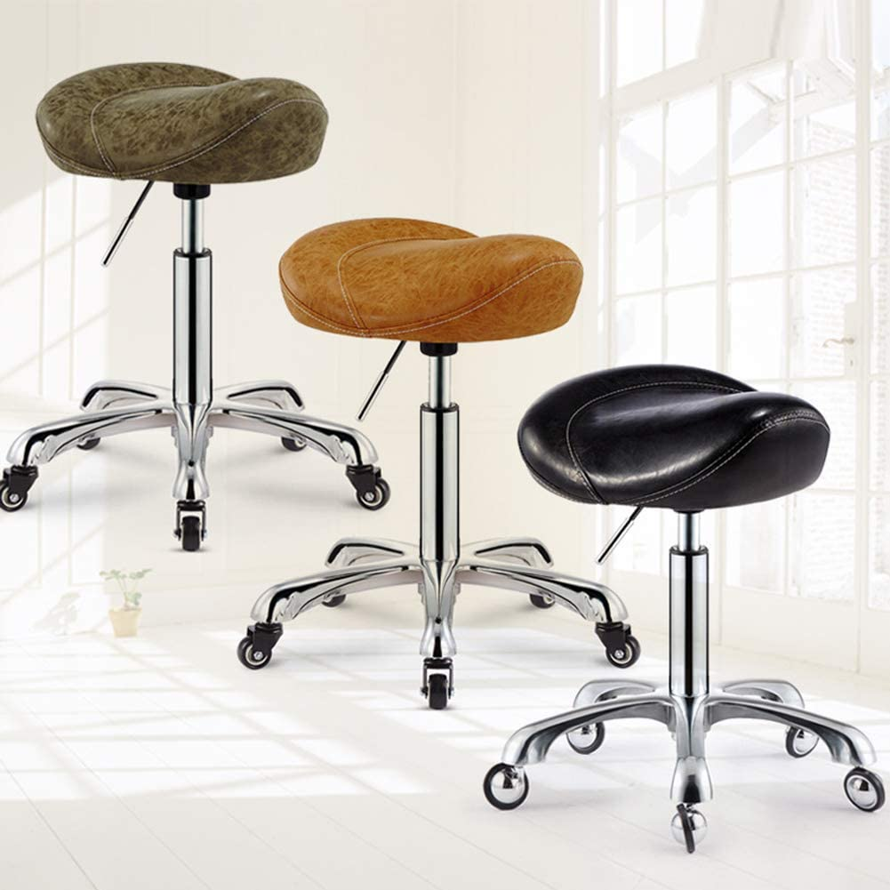 SXRDZ Selle de roulement Tabouret PU pivotant en Cuir réglable Tabouret Roulant à roulettes Chaise Salon, Noir (Color : Brown) Brown