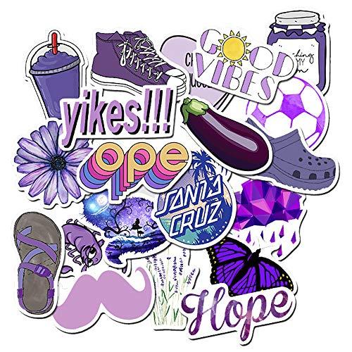 Aufkleber für Wasserflaschen 50pcs, Trendige Aufkleber, Graffiti-Aufkleber, Sticker Pack, für Laptop, Notebook, Skateboard, Gepäck-Koffer, Gitarre (Violett)