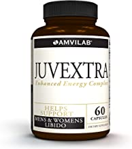 AMVILAB Juvextra, Horny Goat Weed Extract 1000mg, Tongkat Ali, Maca Root,Panax Ginseng, L-Arginine, Saw Palmetto and More!- Stamina, Performance, Energy for Men & Women, 60 Count