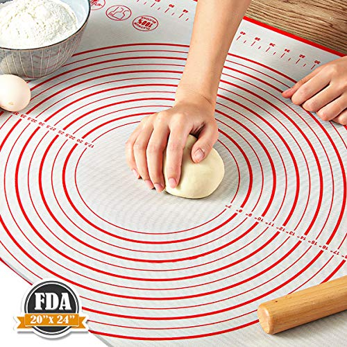 """Pastry Mat for Rolling Dough, WeGuard 24""""x20"""" Extra-large Silicone..."""