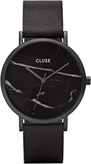 La Roche Full Black Marble CL40001 Women's Watch 38mm Leather Strap Minimalistic Design Casual Dress Japanese Quartz Elegant Timepiece