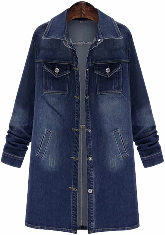 SUSIELADY Women's Denim Jean Jacket Casual Long Sleeve Loose Trench Coat Outerwear Girls Fashion Top Outercoat Windbreaker