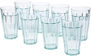 Rhapsody 16-ounce Faceted Plastic Water Tumblers | Turquoise Mist set of 8