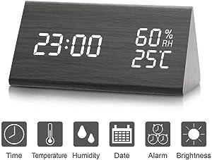 LED sveglia, sveglia digitale in legno attivata tramite tocco o audio, visualizza la data e la temperatura dell'ora (anno, mese, dati, 12/24 ore, ora, sveglia e luminosità)