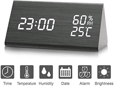 Reloj de Alarma Digital, Salón creativa moderna y simple reloj LED Digital de Triángulo madera