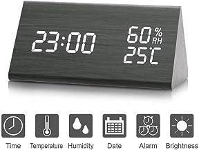 Reloj de Alarma Digital, Salón creativa moderna y simple reloj LED Digital de Triángulo madera, (año, mes, datos, 12/24 horas, hora, alarma y brillo)