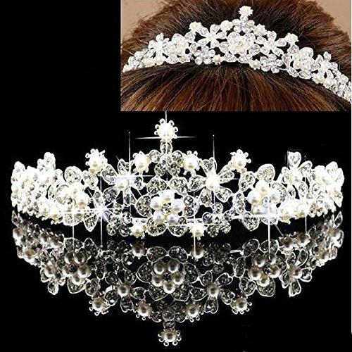 JAGETRADE Tiara para novia, boda, pájaro, cristal, perlas