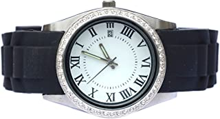 Twist Top Stainless Steel Floating Locket Watch with Black Band
