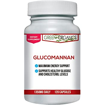 Green Organics Glucomannan Capsules Made Of Konjac Root Powder To Support Weight Loss Support and Appetite Suppression (120 Capsules)