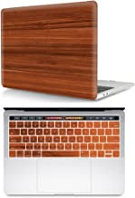 HRH 2 in 1 Brown Wood Texture Laptop Body Shell PC Hard Case Cover and Matching Silicone Keyboard Cover for MacBook New Pro 15 with Touch bar A1707 A1990(2018 2017 2016 Release)