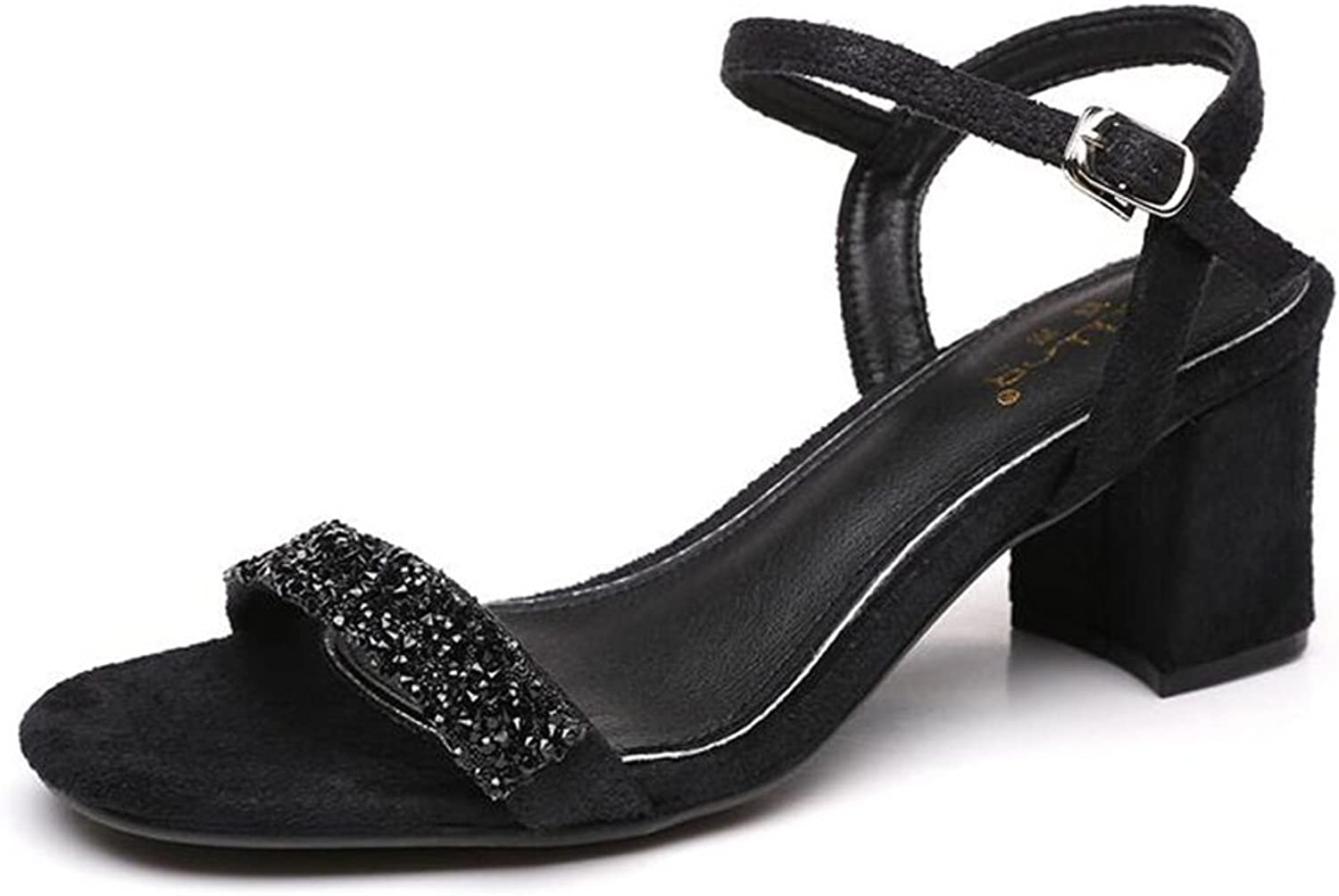 Jinsen Summer Sandals Female with A Buckle Buckle with Rhinestones Black Late Evening Ladies shoes