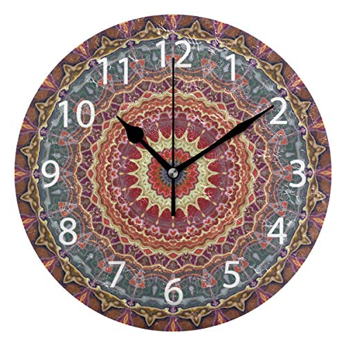Ollabaky Mandala Decorative Wall Clocks Battery Operated Silent Desk Clock, Mosaic Retro Style 10 Inch Non Ticking Clock for Office School Home Round Wall Decor